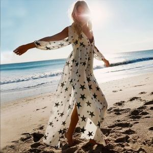 Other - 🔜🌟Astral Star Print White Black Swim Gown Dress